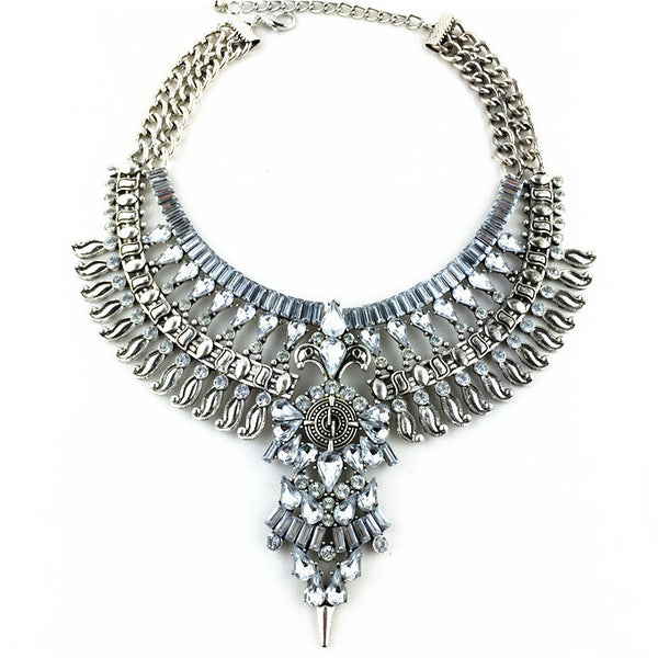 Crown Jewel Statement Necklace In Silver