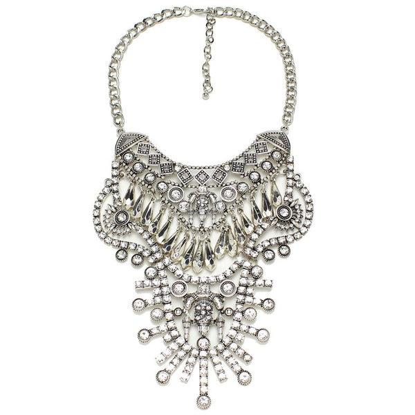 Boho Glam Statement Necklace In Silver 3017