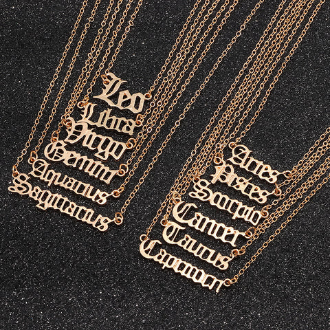 Zodiac Old English Letter Necklace