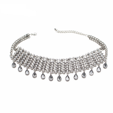 Crystal Drop Pendant Choker Necklace