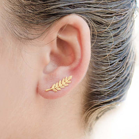 Leaf Hook Stud Earrings