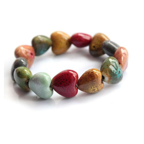 Heart Shaped Stone Beads Bracelet