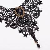Black Victorian Style Pendant Choker Necklace