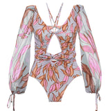 Long Sleeve Bandage Swimwear Monokini