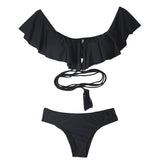 Black Off Shoulder Ruffled Bandeau Bikini Top