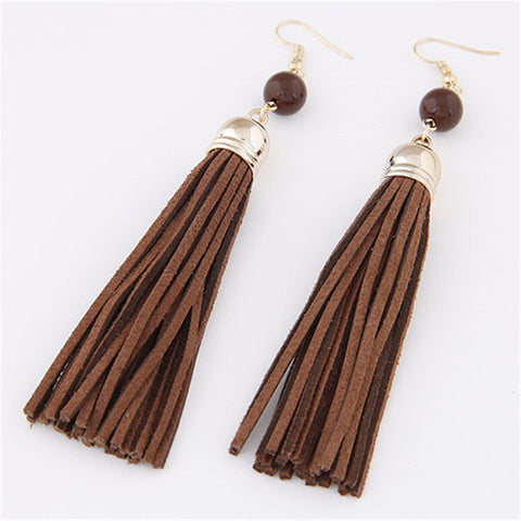 Vintage Leather Tassel Earring