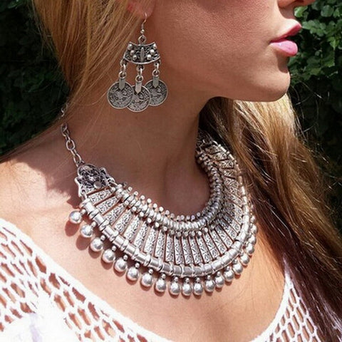 Ethnic Silver Dangle Statement Necklace