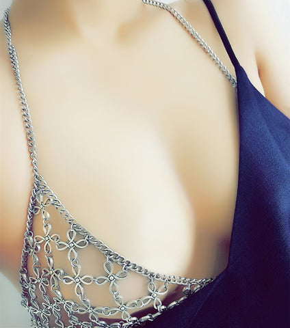 Hollow Floral Bra Vintage Bra Chain