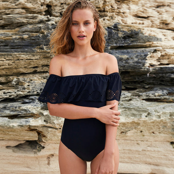 Classic Black Off Shoulder Swimsuit