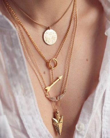 Multilayer Gold Pendant Chain Necklace