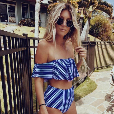 High Waist Striped Bathing Suit White Blue