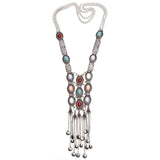 Long Boho Crystal Inlaid Tassel Necklace in Silver