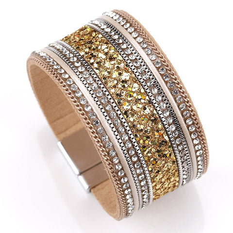Femme Cystal Sequins Paved Wide Cuff Leather Bracelets