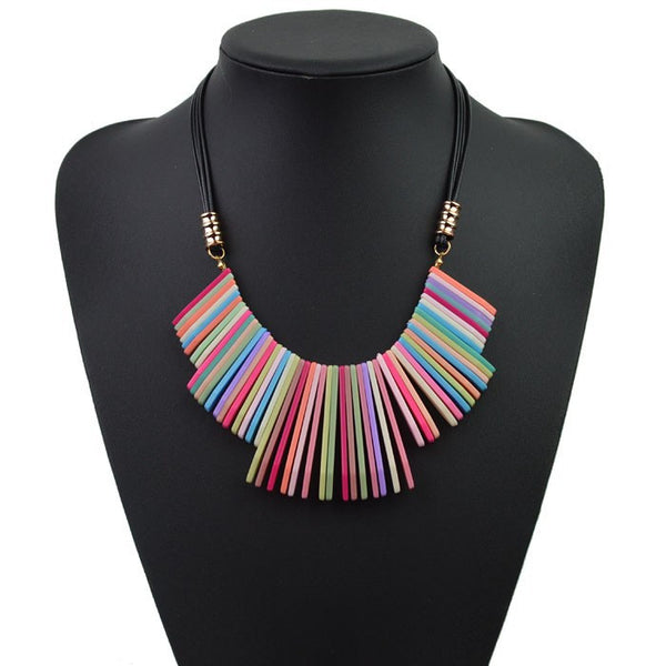 Vibrant Fringe Tassels Necklace