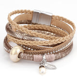 Braided Stack Crystal Leather Wrap Band