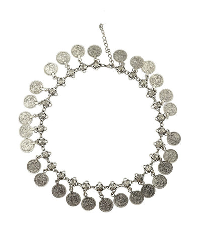 Handmade Bohemian Silver Plated Coin Necklace