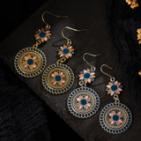 Round Floral Ethnic Earrings