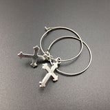 Small Hoop Cross Earrings