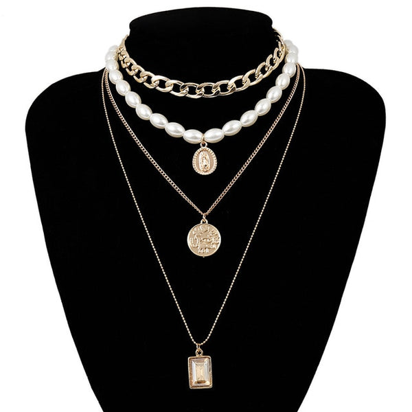 Multi Layered Fashion Pearl Virgin Mary Coin Necklace