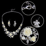 Women's Austrian Crystal Simulated Pearl Rose Flower Leaf Necklace Earring Set