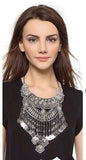 Ethnic Silver Statement Choker Necklace