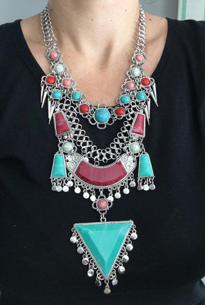 Geometry Turquoise Beads Statement Necklace