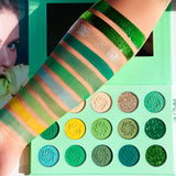 DE'LANCI 15 Color Eyeshadow Palette Green Orange Blue Purple Makeup Eye shadow