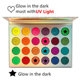 DE'LANCI Aurora Glow Eyeshadow Palette UV Blacklight Neon Eyeshadow Glow in the Dark