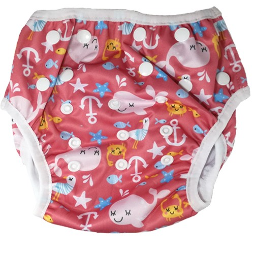 Bam+Boo Swim Nappy - Pink Whales