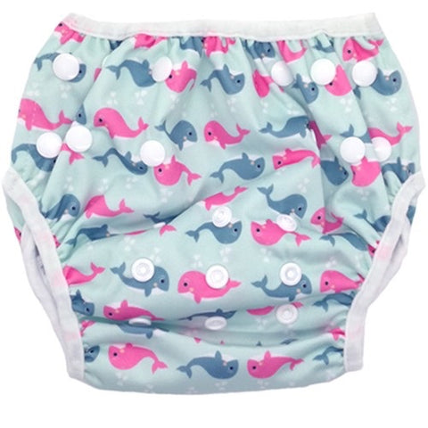 Bam+Boo Swim Nappy - Pink & Blue Whales