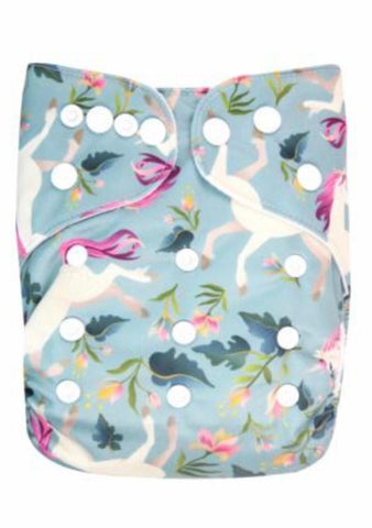 Mama Bear Pocket Nappy - unicorns