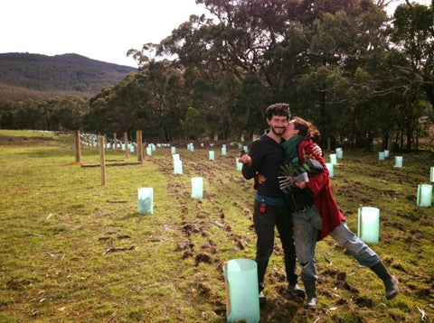 Alex and Kali just after they planted a native forest