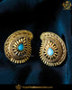 Antique Gold Finished Firozi Stud Earrings | Punjabi Traditional Jewellery Exclusive