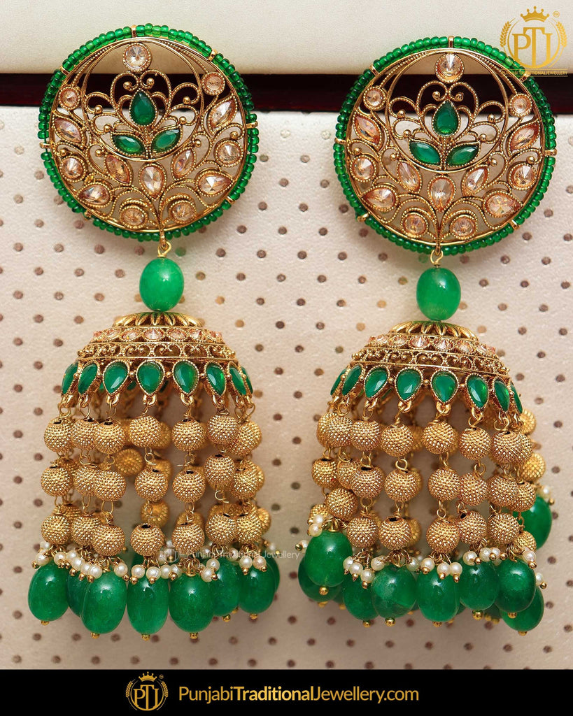 Gold Finished Chamapgne Stone Emerald Jhumki Earrings | Punjabi Traditional Jewellery Exclusive