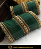 Green Antique Gold Jerkan Bangle Pearl Bridal Chura | Punjabi Traditional Jewellery Exclusive