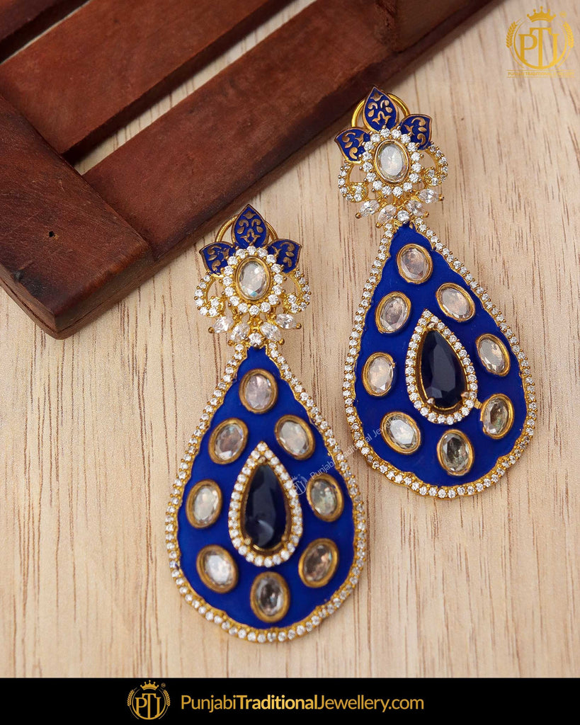 Hand Painted Blue Meena Kundan Earrings | Punjabi Traditional Jewellery Exclusive