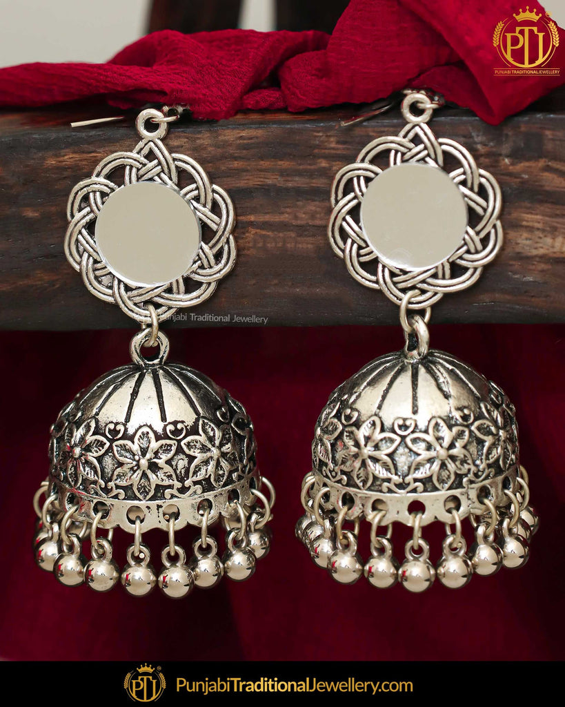 Afghan Silver Finished Oxidised Mirror Jhumki Earrings | Punjabi Traditional Jewellery Exclusive