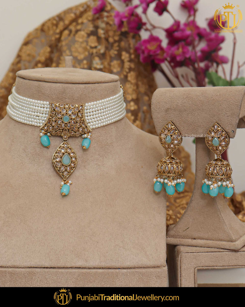 Gold Finished Champagne Stone Firozi Pearl Necklace Set | Punjabi Traditional Jewellery Exclusive
