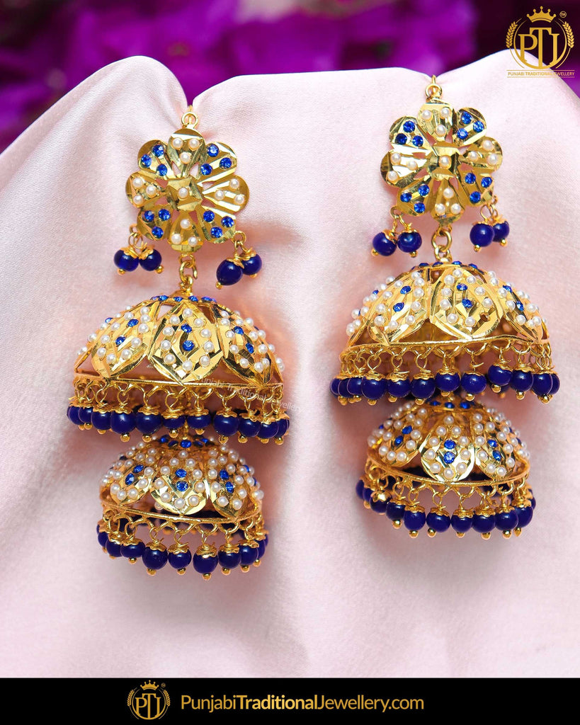 Gold Finished Blue Jadau Jhumki Pearl Earrings | Punjabi Traditional Jewellery Exclusive