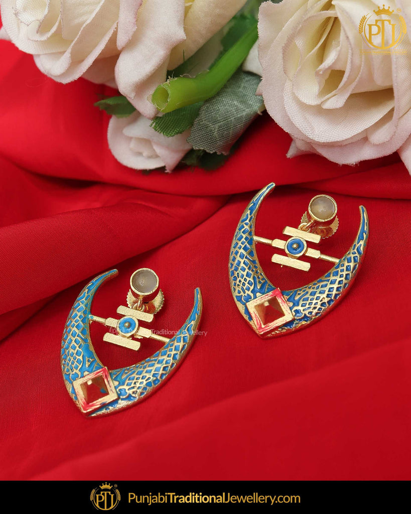 Hand Painted Green Meena Firozi Chand Earrings | Punjabi Traditional Jewellery Exclusive