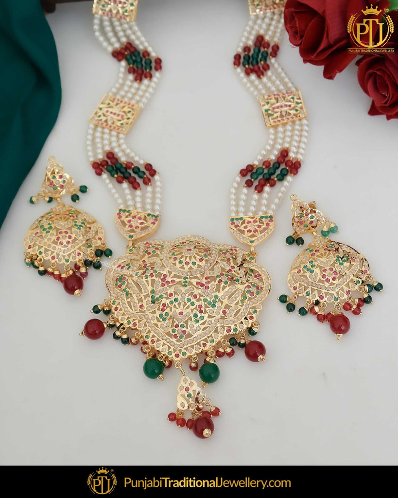 Gold Finished Red & Green Rani Haar Jadau Necklace Set | Punjabi Traditional Jewellery Exclusive