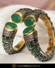 Hand Painted Black Menna Emerald Polki Karra Bangles (Pair)| Punjabi Traditional Jewellery Exclusive