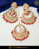 Gold Finished Orange Jadau Pearl Earring Tikka Set  | Punjabi Traditional Jewellery Exclusive