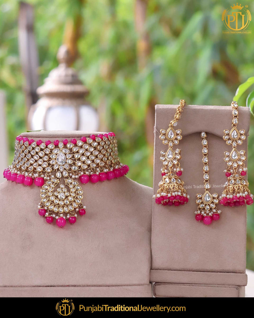 Gold Finished Kundan Hot Pink Pearl Choker Necklace Set | Punjabi Traditional Jewellery Exclusive