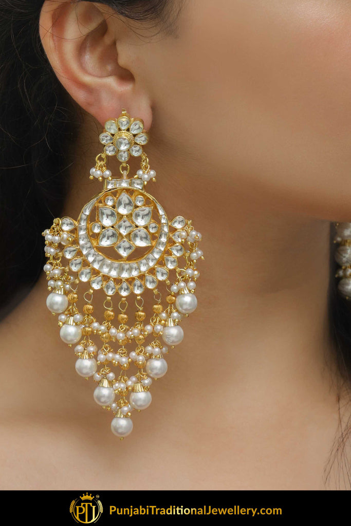 Banujah Kundan Pearl Earrings | Punjabi Traditional Jewellery Exclusive
