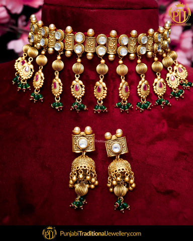 70f71cf559 Antique Gold Finished Rubby Emerald Kundan Pearl Bridal Choker Necklace Set    Punjabi Traditional Jewellery Exclusive