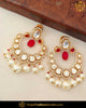 Hand Painted Meena Rubby Kundan Pearl Earrings | Punjabi Traditional Jewellery Exclusive