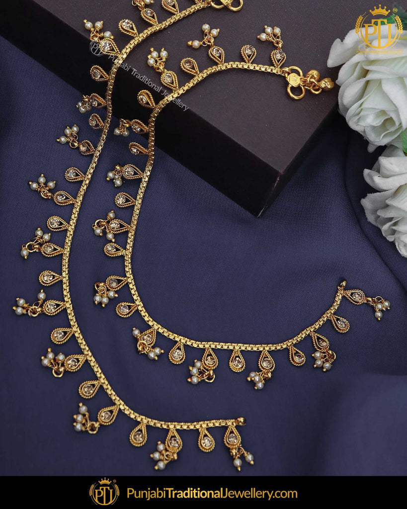 Gold Finished Champagne Stone Payal | Punjabi Traditional Jewellery Exclusive