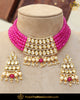 Gold Finished Pink Kundan Choker Pearl Necklace Set | Punjabi Traditional Jewellery Exclusive