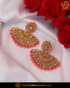 Gold Finished Chamapgne Stone Orange Earrings | Punjabi Traditional Jewellery Exclusive